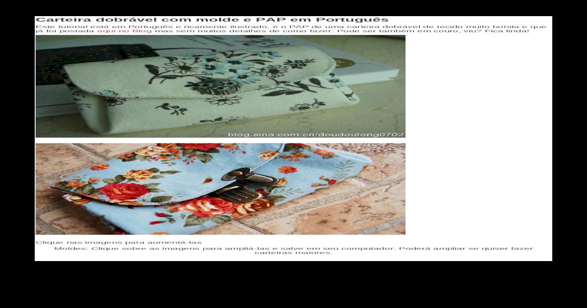 Carteira dobrvel com molde e PAP em Portugus [DOCX Document]